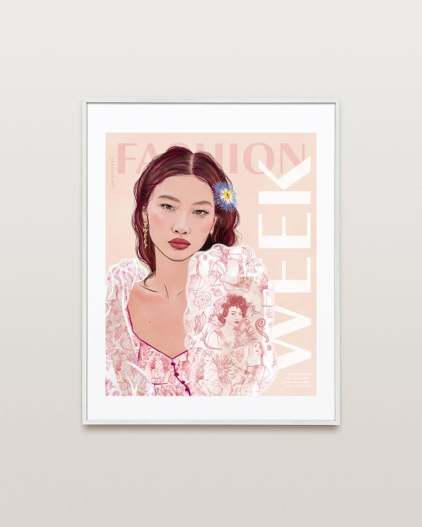Framed HoYeon Jung Fashion Week Poster Pink by Ariana Pacino