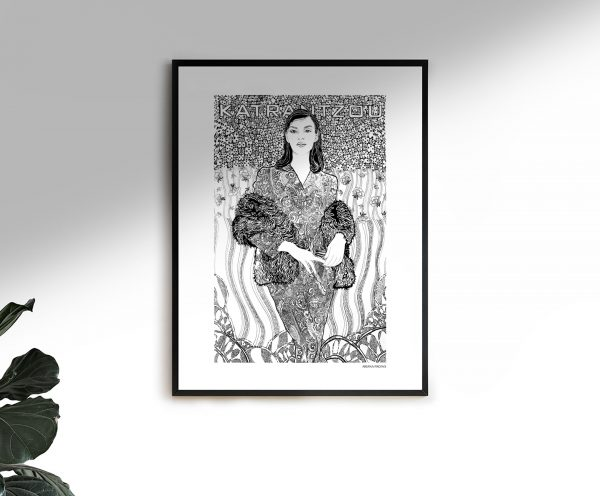 Mary Katrantzou Fashion Illustration Poster Framed by Ariana Pacino
