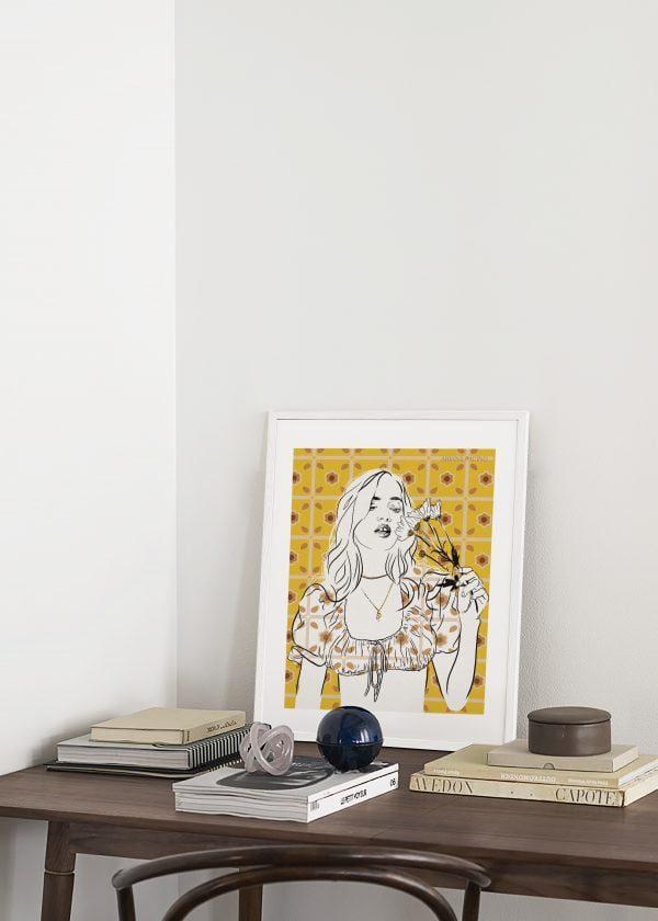 Daisy Fashion Illustration Framed Print by Ariana Pacino e1597068867337