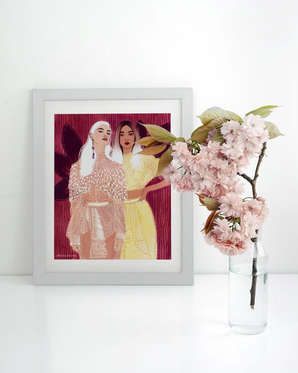Girls in Lace Framed Fashion Illustration Print by Ariana Pacino