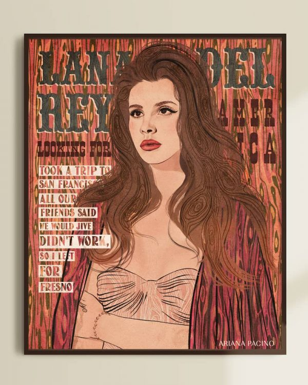 Lana Del Rey Looking For America Framed Graphic Poster Illustration Portrait Faux Bois Wood Type by Ariana Pacino