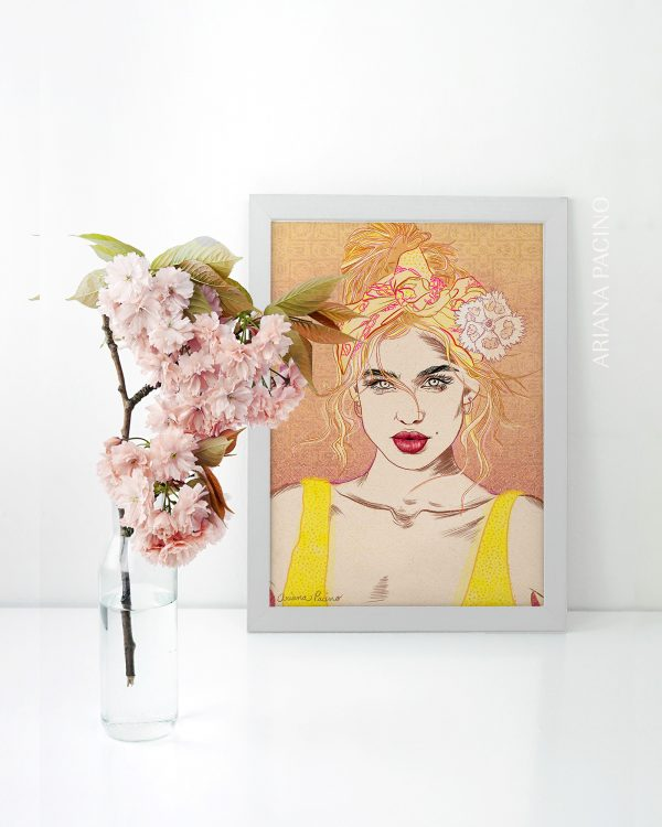 Yellow and Pink Art Print with model Belle Lucia wearing a headscarf