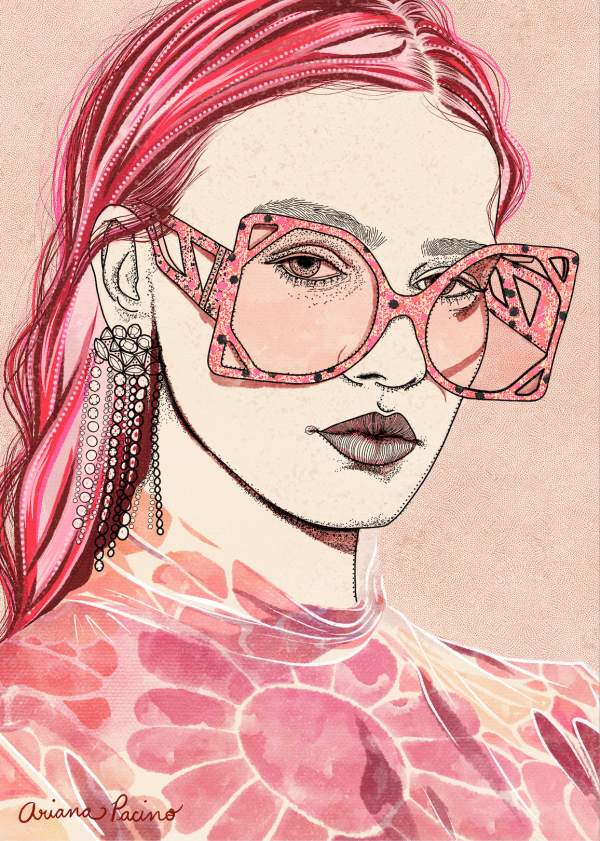 Pink Fashion Watercolor Sketch by Ariana Pacino