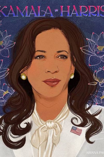 Illustration of Kamala Harris. Lotus Flowers and Typography. Red, White, and Blue. Editorial Illustration and animation. Kamala in white suit. Silk Pussy-bow blouse shirt.
