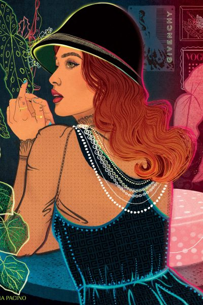 Neon Fashion Illustration by Ariana Pacino. Editorial Illustration for The Los Angeles Times. Model wearing Audrey Hepburn and Givenchy inspired dress and cloche hat. Illustration for